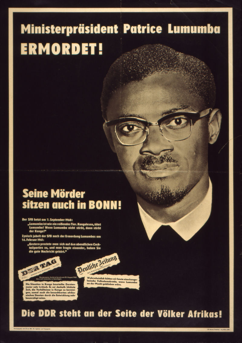 Poster calling for a rally on the occasion of the murder of Patrice Lumumba. Photo: Deutsches Historische Museum.